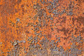 Riveted metal plate in rust background Stock Images