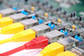 RJ45 network plugs red and yellow Stock Photo