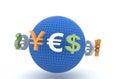 Rmb, Euro and Dollar Royalty Free Stock Photo