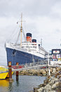 Rms queen mary oceanliner long beach california april the ocean liner which sailed on the north atlantic ocean from to now retired Stock Photography