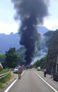 Road accident big where is big tank truck fire and explode on the near places mostar bosnia and herzegovina one man die Royalty Free Stock Photography