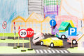 Road accident of two paper cars in the toy city Royalty Free Stock Photo