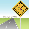 Road Ahead Time for Change Sign Royalty Free Stock Photo