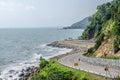 The road along beautiful beaches in the eastern sea coast ,The e Royalty Free Stock Photo