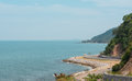 The road along beautiful beaches of the Gulf of Thailand Royalty Free Stock Photo