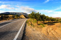 Road along coast greek island rhodes Royalty Free Stock Photography