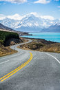 The road along Lake Pukaki to Mount Cook National Park, New Zealand Royalty Free Stock Photo