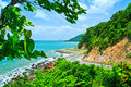 Road along the seashore great view while driving Royalty Free Stock Photos