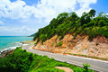 Road along the seashore great view while driving Royalty Free Stock Image