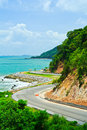 Road along the seashore great view while driving Royalty Free Stock Photography