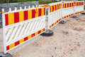 Road barriers area under construction striped red and yellow Royalty Free Stock Images