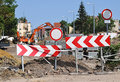 Road barriers at the road construction Royalty Free Stock Photo