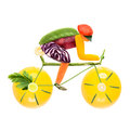 Road bike cycling fruits and vegetables in the shape of a male cyclist on a Royalty Free Stock Photo