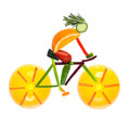Road bike cycling fruits and vegetables in the shape of a male cyclist on a Stock Photography