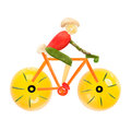 Road bike cycling fruits and vegetables in the shape of a male cyclist on a Royalty Free Stock Photos
