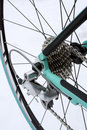 Road bike rear wheel and gears Royalty Free Stock Photo