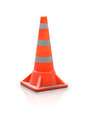 Road block bollard traffic cone on white