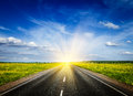 Road in blooming spring meadow travel concept background on sunset Royalty Free Stock Photography