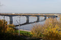 Road bridge in the city of perm over kama river russia Stock Photos
