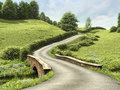 Road with a bridge country through green meadow Royalty Free Stock Image