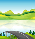 A road bridge near the lake illustration of Stock Images