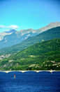 Road bridge over the reservoir lac de serre ponson in the southeast of france at the durance river provence the alps savines le Stock Images