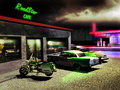Road cafe exterior night scene close to a a and gas station illuminated by neons several cars and motorcycles outside inside the Royalty Free Stock Photography