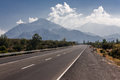 Road in chile a leading toward the andean mountains Stock Images