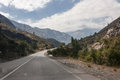 Road in chile a leading toward the andean mountains Stock Photography
