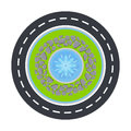 Road circle and fountain inside top view vector illustration.