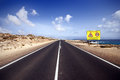 Road close to sea fuerteventura canary islands Royalty Free Stock Photos