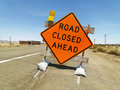 Road closed ahead sign. Royalty Free Stock Images