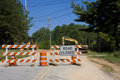 Road Closed and Equipment Royalty Free Stock Photography
