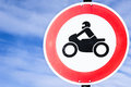 Road closed for motorbikes sign Stock Photography
