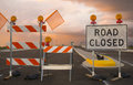 Road closed sign on entrance for new highway motorway Stock Image
