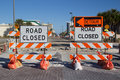 Road closed sign on street repair Royalty Free Stock Photos