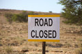 Road closed signboard in the kalahari desert Stock Image