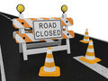 Road closed warning sign Stock Images