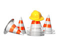 Road cones and hat d bright objects isolated oh white background Stock Images