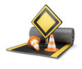 Road construction concept on white background d render Stock Photo