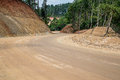 Road construction,Dirt road,New road surface. Royalty Free Stock Photo