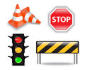 Road construction icons set of four bright and Royalty Free Stock Photos