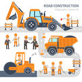 Road construction infographic elements vector flat design. Construction, workers, excavator, roller, bulldozer. Royalty Free Stock Photo