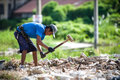Road construction klongsan thailand november unidentified thailand man working at near thadindaeng market wage to baht Royalty Free Stock Photo