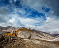 Road construction in mountains himalayas ladakh india Stock Images