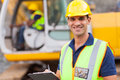 Road construction supervisor handsome with clipboard Stock Image