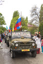 Road convoy on parade in honor of the victory in the second worl th anniversary great world war pyatigorsk russia Stock Images