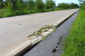 Road crack damage danger Royalty Free Stock Photo