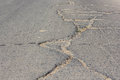 Road crack surface of concrete driveway with Royalty Free Stock Photography