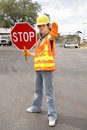 Road Crew Stop Full View Royalty Free Stock Images